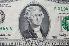 Portrait of the third US President Thomas Jefferson on two-dollar banknote bill royalty free stock photography