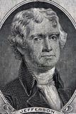 Portrait of Thomas Jefferson. From the two dollar bill Stock Photo