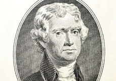 Portrait of Thomas Jefferson on a two dollar bill. Closeup of the portrait of Thomas Jefferson on the front of a two dollar bill Royalty Free Stock Images