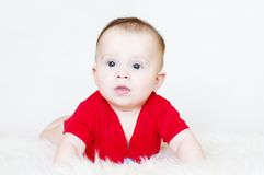 Portrait of the thoughtful baby Royalty Free Stock Photo