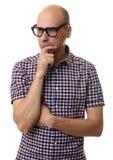 Portrait of thoughtful bald man isolated Stock Photo