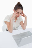Portrait of a thoughtful businesswoman using a notebook Royalty Free Stock Photos