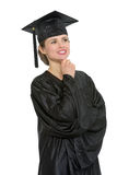 Portrait of thoughtful graduation woman isolated Royalty Free Stock Photography