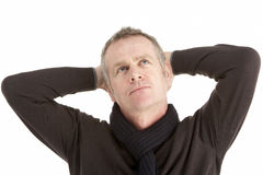 Portrait Of Thoughtful Middle Aged Man Royalty Free Stock Photo