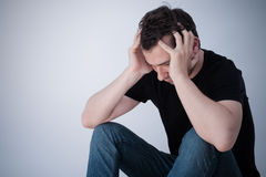 Portrait of thoughtful sad man Stock Images