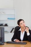 Portrait of a thoughtful secretary Stock Image