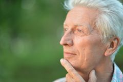 Portrait of thoughtful senior man. With hand on chin   in  park Royalty Free Stock Photography