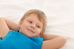 Portrait of a thoughtful smiling boy Stock Image