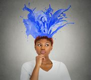 Portrait thoughtful woman colorful splashes coming from her head Royalty Free Stock Photography