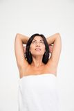 Portrait of a thoughtful woman in towel Royalty Free Stock Images