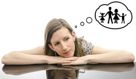 Woman dreaming about family Royalty Free Stock Photo