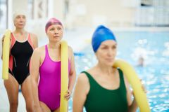 Senior Women by Pool royalty free stock photography