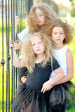 Portrait of a three  beautiful fashion  girls Stock Images