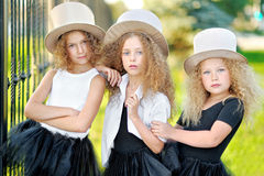 Portrait of a three  beautiful fashion  girls Stock Image