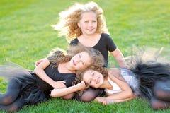 Portrait of a three  beautiful fashion  girls Royalty Free Stock Photo