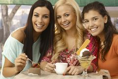 Portrait of three beautiful women smiling Stock Photos