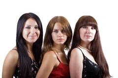Portrait of three beautiful young women. Isolated 2 Royalty Free Stock Image