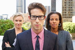 Portrait Of Three Business Colleagues Outside Office Royalty Free Stock Images