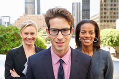 Portrait Of Three Business Colleagues Outside Office Stock Photography
