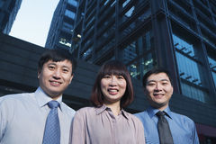Portrait of three-business people outdoors, Beijing Royalty Free Stock Photo