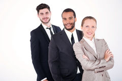 Portrait of three businessmen. Three successful and smiling busi Royalty Free Stock Photo