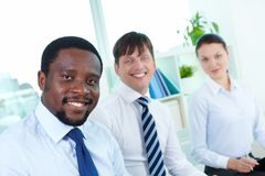 Three employees Stock Photo