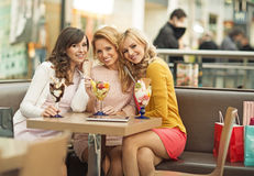 Portrait of the three cheerful girlfriends Stock Photography