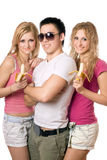 Portrait of three cheerful young people stock image