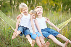 Portrait of three children playing Royalty Free Stock Image