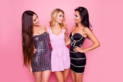 Portrait of three cute, nice, slim, attractive girls, in short dresses, looking to each other, having fun on new year party, stand. Ing over pink background stock photos