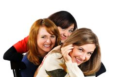 Portrait of three fresh charming girls with beauti Royalty Free Stock Image