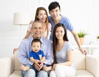Portrait Of Three Generation asian Family Stock Photos