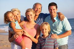 Portrait Of Three Generation Family On Beach Royalty Free Stock Photo