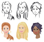 Portrait of three girls different races. Girls are my creative drawing and you can use it for your design, made in , Adobe Illustrator 8 EPS file Stock Photo