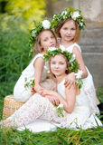 Portrait of three girls. In a wedding style stock photos