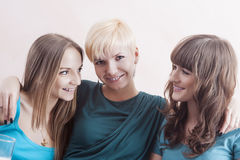 Portrait of Three Happy Caucasian Females Wearing Dental Bracket Royalty Free Stock Photography