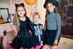 Happy Children at Halloween Party Royalty Free Stock Photos
