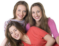 Portrait of three  happy girls. Portrait of three young beautiful happy girls Stock Images