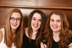 Portrait of three happy teen girls Royalty Free Stock Photos