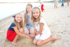 Portrait of three little girls Stock Photos