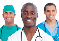 Portrait of three male doctors Royalty Free Stock Photos