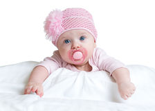 Portrait of three months old adorable baby girl wearing pink hat Stock Photography
