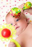 Portrait of three months old sweet baby. Royalty Free Stock Photo