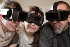 Portrait of three persons with vr glasses. Portrait of three persons with virtual reality glasses Royalty Free Stock Photography
