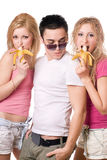 Portrait of three playful young people stock images