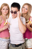 Portrait of three pretty young people royalty free stock image