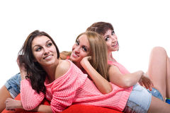 Portrait of three sexy young women isolated on Royalty Free Stock Image