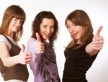 Portrait of three smiling attractive girls. Portrait of three smiling attractive girlfriends Stock Photography
