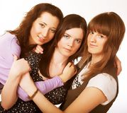Portrait of three smiling attractive girls Royalty Free Stock Photo