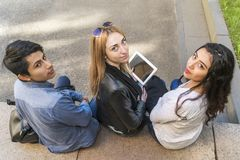 Portrait of students with tablet stock photo